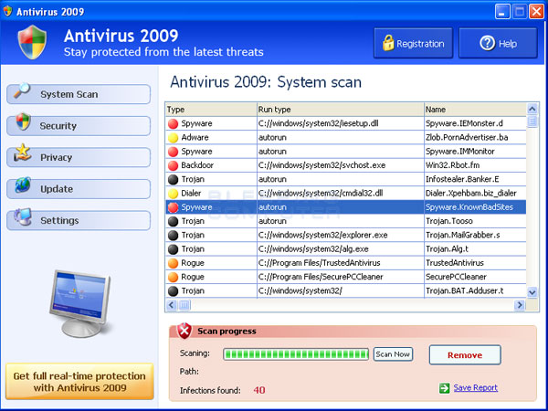 Screen shot of Antivirus 2009