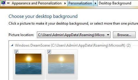 Windows 7 DreamScene is Desktop Background Personalization
